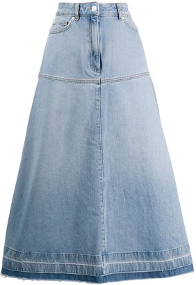 Escada Sport High-Waist Flared Denim Skirt