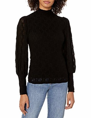 Only Hearts Women's Stretch Lace Pleat Sleeve Mock Neck