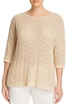 Eileen Fisher Plus Bateau Neck Crochet Sweater