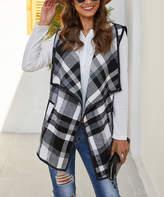 Coeur De Vague Coeur de Vague Women's Sweater Vests Gray - Gray Plaid Pocket Vest - Women