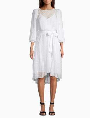 Calvin Klein Embroidered Puff Sleeve Belted Dress