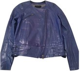 American Retro Blue Leather Leather Jacket for Women