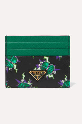 Prada Printed Textured-leather Cardholder - Emerald