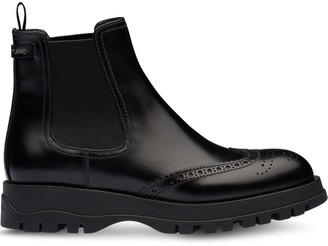 Prada Brogue Detailed Chelsea Boots
