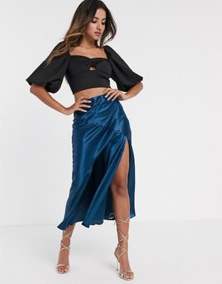 Asos DESIGN satin midi skirt with thigh split in navy