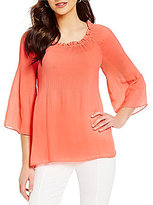 Investments Pleated Popover Blouse