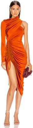Monse Asymmetrical Drawstring Dress in Rust   FWRD