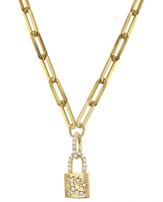 Rachel Reinhardt 14K Over Silver Cz Paperclip Chain Necklace