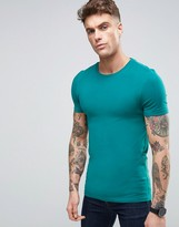 Asos Muscle T-Shirt In Green With Crew Neck