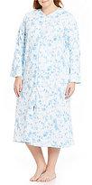 Miss Elaine Plus Floral & Bird-Print Quilted Zip Robe