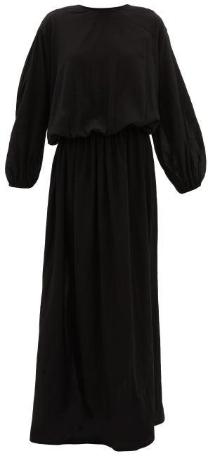 ALBUS LUMEN Licentia Draped Cotton Maxi Dress - Black