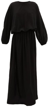 ALBUS LUMEN Licentia Draped Cotton Maxi Dress - Black