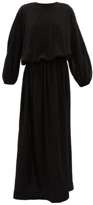 ALBUS LUMEN Licentia Draped Cotton Maxi Dress - Womens - Black