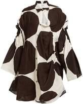 Junya Watanabe Kivet-print asymmetric pintucked linen shirt dress
