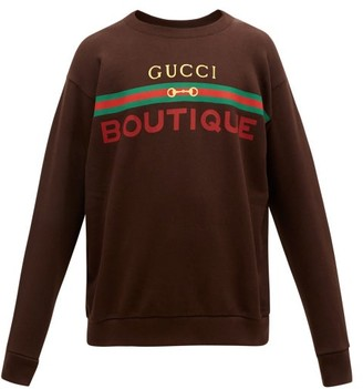 Gucci Logo-print Cotton-jersey Sweatshirt - Brown