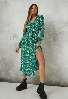 Missguided Green Leopard Print Half Button Midi Tea Dress