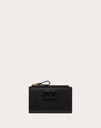 Valentino Vsling Grainy Calfskin Cardholder With Zipper Women Black Calfskin 100% OneSize