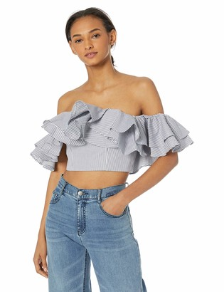 C/Meo Women's Together Again Strapless Off The Shoulder Ruffle Top