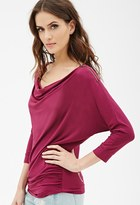 Forever 21 Contemporary Zippered Cowl-Neck Top