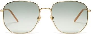 Gucci Lasered-logo Square Metal Sunglasses - Blue Multi
