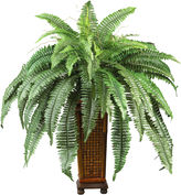Asstd National Brand Nearly Natural Boston Fern Silk Plant with Wood Vase