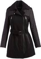 Kenneth Cole Black Quilted-Accent Wool-Blend Trench Coat