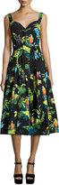 Marc Jacobs Parrot-Print Sleeveless Midi Dress, Black/Multi