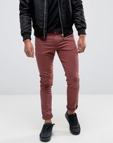 Asos Super Skinny Jeans In Burgundy
