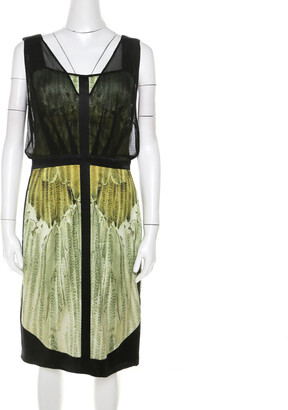 Narciso Rodriguez Green Satin and Black Mesh Overlay Sleeveless Dress M