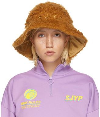 Sjyp SSENSE Exclusive Reversible Brown Hairy Hat