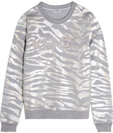 Kenzo Iridescent Tiger-print Cotton-jersey Sweatshirt - Silver