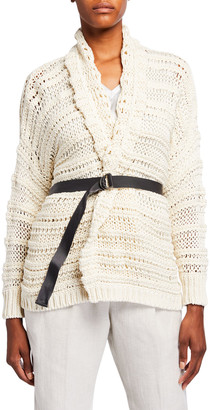Brunello Cucinelli Netted Shawl Collar Wrap Cardigan with Grosgrain Belt