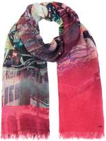 Oui Abstract printed long scarf