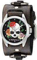 Nemesis Unisex 933DFRB-K Black Skull and Roses Series Faded Black Ring Leather Cuff Band Analog Display Japanese Quartz Black Watch