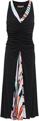 Emilio Pucci Printed Silk-paneled Ruched Jersey Dress
