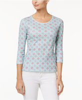 Charter Club Petite Cotton Tile-Print Top, Only at Macy's