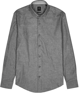 HUGO BOSS Randolph grey cotton-blend shirt