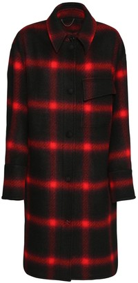 Stella McCartney Check Wool Flannel Knee Length Coat