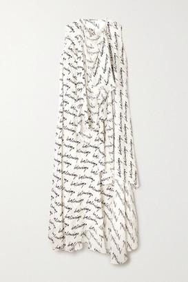 Balenciaga Draped Asymmetric Printed Silk-jacquard Dress - White