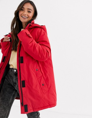 ASOS DESIGN fleece lined anorak coat in red