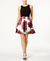 Xscape Evenings Illusion Floral-Print Fit and Flare Dress