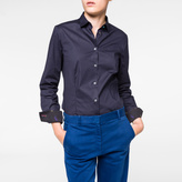 Paul Smith Women's Navy Cotton Shirt With 'Animal' Cuff Linings