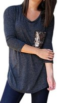 Soficy Womens Long Sleeve Crew Neck Relax Fit Cotton T-shirt with Sequin Pocket XL