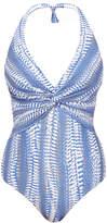 Melissa Odabash Zanzibar Blue River Printed Halter Swimsuit
