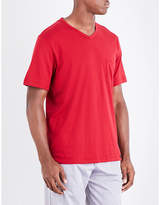 Hanro Red Patch Pocket Luxurious V-neck Cotton T-shirt