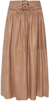 Ulla Johnson Hilda Stitched Leather Skirt