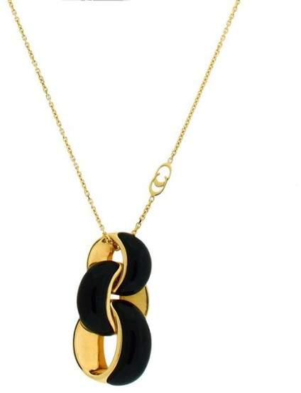 Chimento 18K Yellow Gold Link Infinity Onyx Inlay Necklace