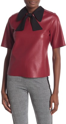 Gracia Faux Leather Contrast Collar Top