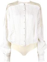 Esteban Cortazar stripe shirt body - women - Viscose/Ramie/Linen/Flax/Spandex/Elastane - 40