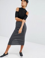 Daisy Street Midi Skirt Co-Ord In Rib